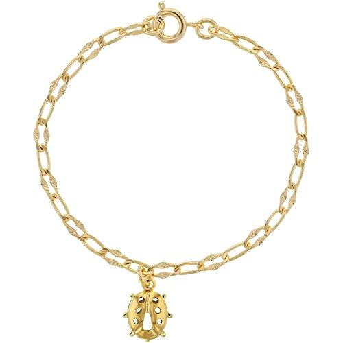 - In Season Jewelry 18k Gold Plated Openwork Ladybug Charm Fancy Chain Childrens Bracelet 5.5