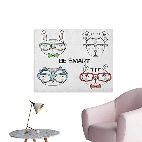 Anzhutwelve Quote Photo Wall Paper Set of Hand Drawn Funny Portraits of Cat Bunny Reindeer Owl in Glasses Be Smart Text Custom Poster Multicolor W32 xL24