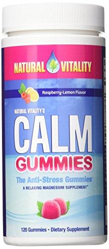 Natural Vitality Calm Gummies The Anti-Stress Gummies, A Relaxing Magnesium Supplement - 120 ct Raspberry Lemon