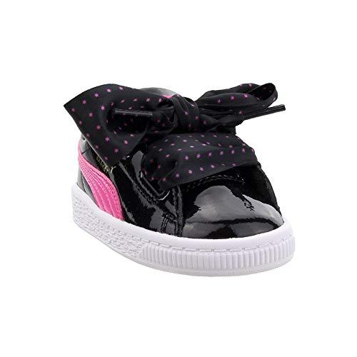 PUMA Girls' Basket Heart Sneaker, Black Carmine Rose-Metallic Gold, 9 M US Toddler (Shoe Laces For Puma)