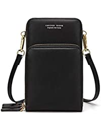 Small Leather Crossbody Cellphone Shoulder Bag for Women, Smartphone Wallet Purse with Removable Strap for Shopping