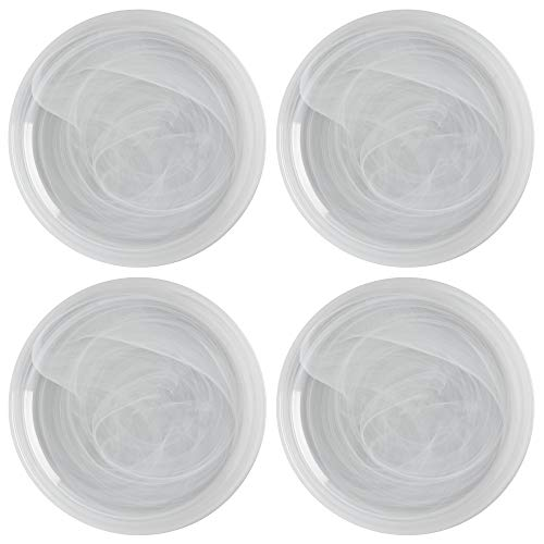Maxwell Williams 5251568 Marblesque Side Plate Set with Alabaster Swirl Effect, Handmade Glass, 18.5 cm-White (Set of 6)