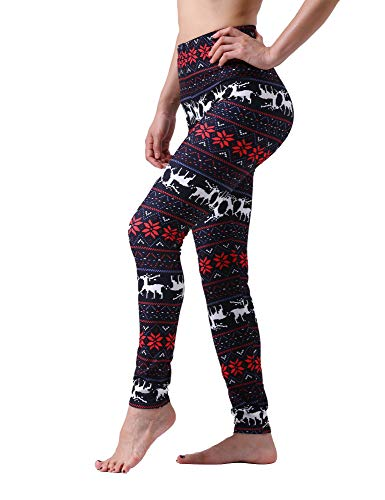 Maxi Women's Large Plus Size Christmas Snowflake Holiday High Waist Leggings