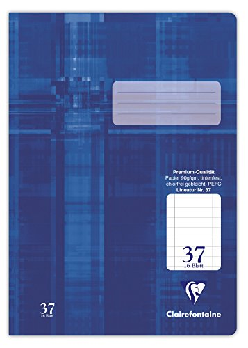 Clairefontaine 331637C Heft (DIN A4, 218 x 29,7 cm, liniert, perforiert und gelocht, Premium 90 g, 32 Blatt) 1 Stück