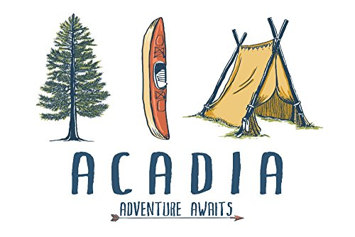 - Acadia - Adventure Awaits - Kayak Version (24x36 Giclee Gallery Print, Wall Decor Travel Poster)
