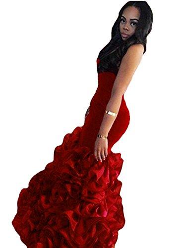4e7c1be5c0e The Peachess Velvet Formal Evening Gown Mermaid Prom Dresses with Tiered  Skirt