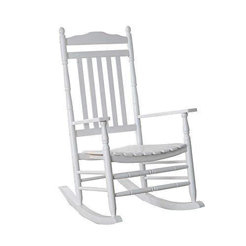 B&Z KD-22W Wooden Rocking chair Porch Rocker White Outdoor Traditional Indoor (Renewed)