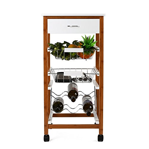 HOMFA Kitchen Rolling Trolley Cart 4-Tiers Bamb...
