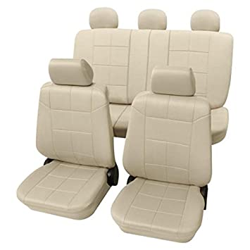 Beige Car Seat Covers With A Classy Leather Look by Amazon