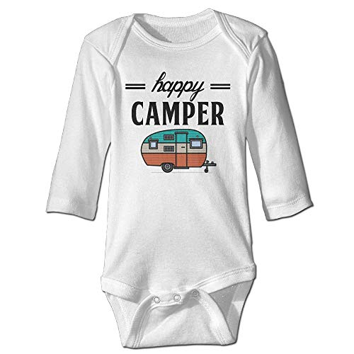 TENGBOKY Funny Baby Onesies Unisex Happy Camper Camping Outdoor Newborn Clothes Long-Sleeve Bodysuits
