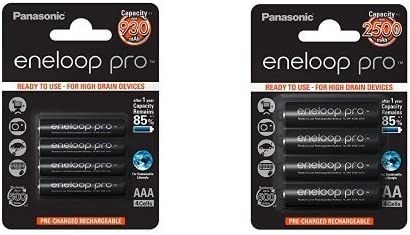 Panasonic Eneloop Pro - Pack 4 pilas AAA recargables + Pack 4 pilas AA recargables, 2500 mAh: Amazon.es: Electrónica