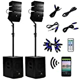 AKUSTIK 12 Inch 4000Watt Powered PA Speaker System Combo Set, DJ Array Speaker Set...