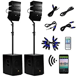AKUSTIK 12 Inch 4000Watt Powered PA Speaker System Combo Set, DJ Array Speaker Set with Remote Control, Two Subwoofers…