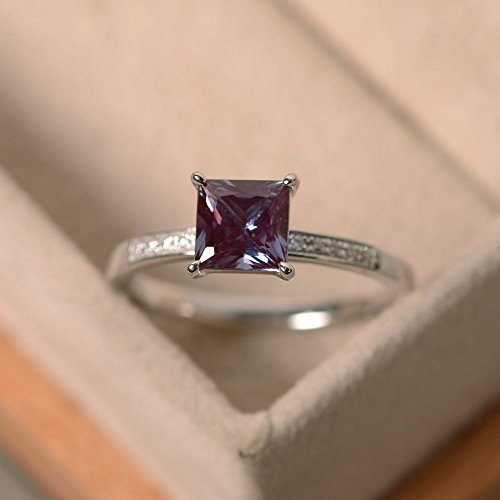 (princess cut lab alexandrite customized rings for women sterling silver)