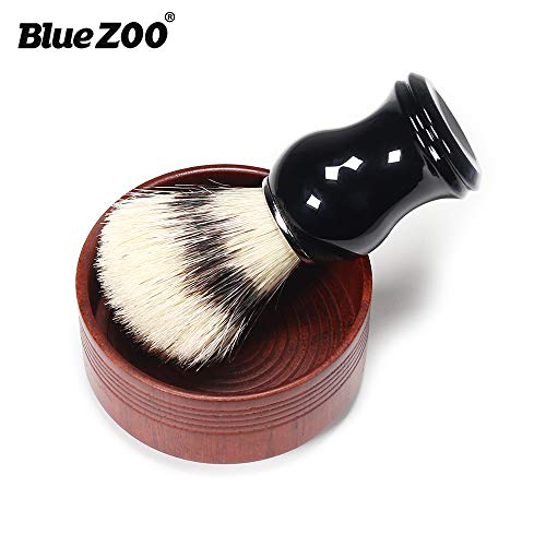 BlueZOO Shaving Cream Brush and Bowl Beard Lather Brush Beard Shaving Soap Bowl Boar Bristles Hair Brush Natural Crude Wood Cream Bowl for Men Traditional Wet Shaving - Shaving Bristle Set