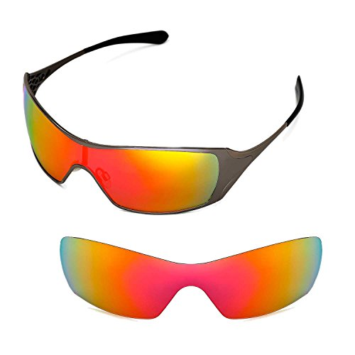 Walleva Replacement Lenses for Oakley Dart Sunglasses - Multiple Options Available (Fire Red Mirror Coated - - Oakley Dart Lenses
