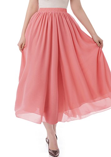 malishow Women's Long Chiffon Skirt Pleated Retro Beach Skirts A-Line Maxi Dress Coral S