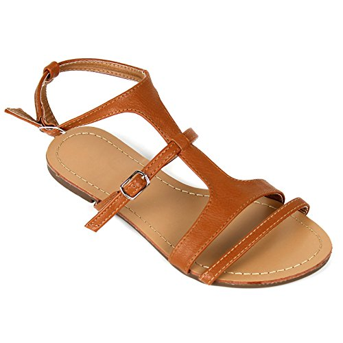 Womens Strappy Gladiator Flat Flip Flop Sandals Shoes Tan CvtPD