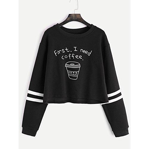 YouzhiWan007-onsale New Autumn Women Fashion Letter Print First I Need Coffee Hoodies Women Long Sleeve Casual Cropped Sweatshirt Pullover Black XL