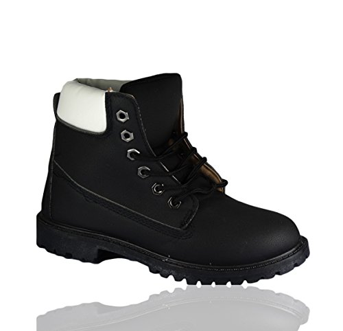 LADIES WOMENS GIRLS WALKING ANKLE LACE UP ARMY GRIP SOLE COMBAT ANKEL BOOTS SIZE Black