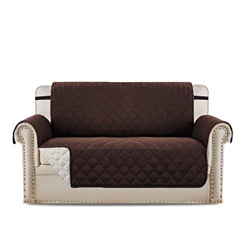 H.VERSAILTEX Sofa Cover Sofa Slipcover Sofa Protector for Dogs Pets, Quilted Quick Drape Reversible Furniture Cover, Stay in Space with Wider Straps, 75 inch x 90 inch (Love Seat - Brown/Beige) -  PART-HVSOFAPROTECTOR-7590-BROWNandBEIGE