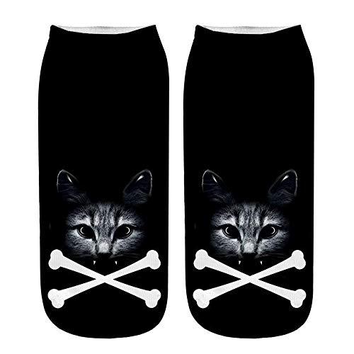 (YJYDADA Socks,Popular Funny Unisex Short Socks 3D Cat Printed Anklet Socks Casual Socks (A))