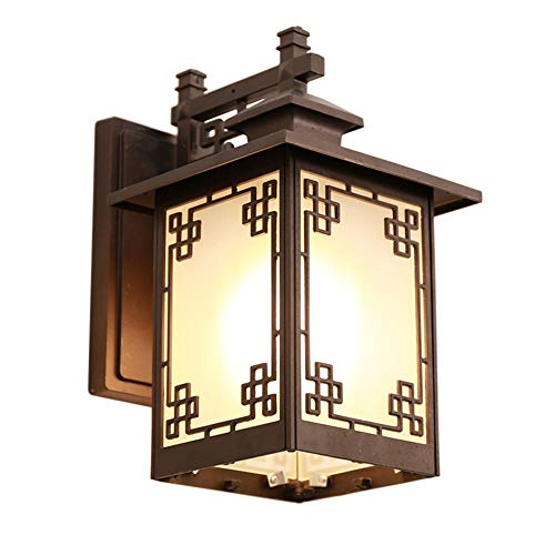 Belief Rebirth Oriental Traditional Wall Lantern 1-Light Outdoor Indoor Wall Sconce, Matte Black, Frosted Glass Shade - Courtyard, Corridor, Porch, Balcony, Patio Outside Wall Landscape Light