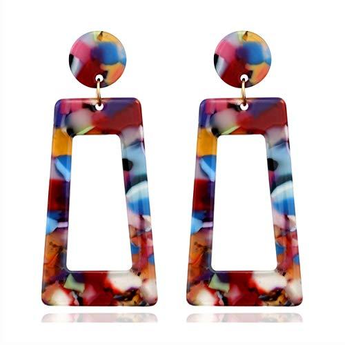 Mottled Acrylic Dangle Drop Earrings for Women Resin Stud Earrings Bohemian Statement Earrings Fashion Jewelry (rainbow resin earrings)