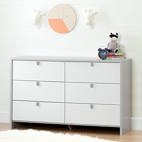 South Shore Cookie 6-Drawer Double Dresser, Soft Gray and Pure White - Soho Cherry Finish