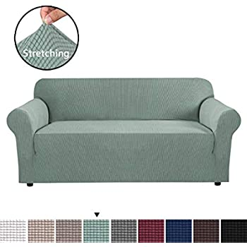 1 Piece High Stretch Sofa Cover Jacquard Lycra Sofa Slipcover / Form Fit Slip Resistant Stylish Furniture Protector for Sofa Machine Washable, Lounge Cover for 3 Cushions (Large Size, Sage)