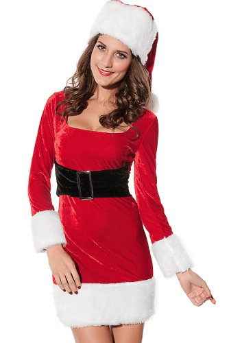 [Beatifully Qearl womens Christmas 2pcs Mrs Santa Claus Dress Costume Red one size] (Mrs Claus Costume Makeup)