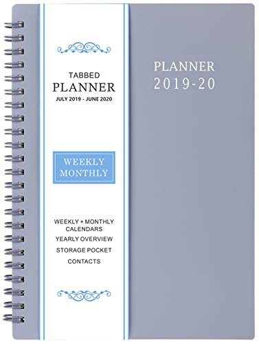 "2019-2020 Academic Planner - Weekly & Monthly Planner, July 2019 - June 2020, Flexible Cover,12 Monthly Tabs, 21 Notes Pages, Twin-Wire Binding with Two-Sided Inner Pocket, 5"" x 8"""