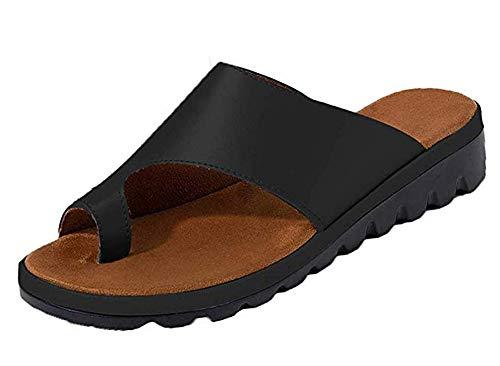 Women Summer Wedges Platform Sandals Stylish Thong Flip Flops Ultra Comfort Slippers Toe Loop Flat Sandals Black