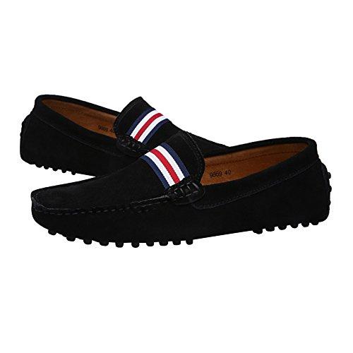 Rismart Hombres Elegante OTAN-Raya Conducción Mocasines Zapatos Comodidad Hecho a Mano Ante Mocasín Zapatillas Negro