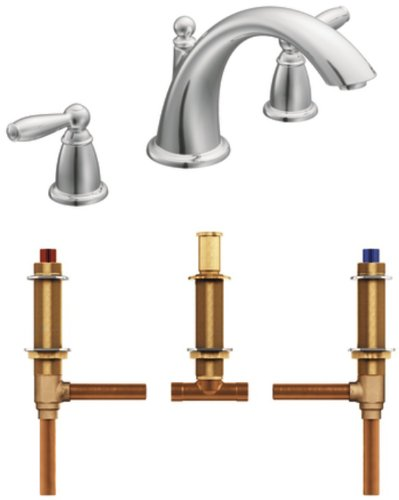Brantford Two Handle (Moen T933-4792 Brantford Two-Handle Low Arc Roman Tub Faucet with Valve, Chrome)