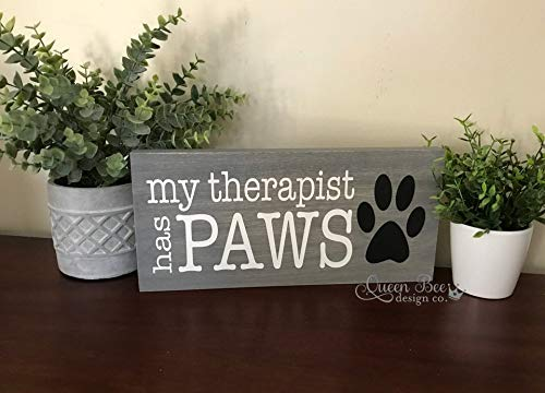 CELYCASY My Therapist Has Paws Sign.Pet Lover Sign.Love Paw Sign.Paw Print Wood Sign.Dog Lover.Dog Decor.Dog Lover Gift.Wood Signs.Dog Wood Sign