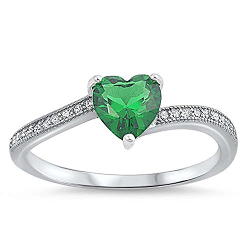 Oxford Diamond Co Heart Shaped Simulated Emerald with Cubic Zirconia .925 Sterling Silver Ring Size 5