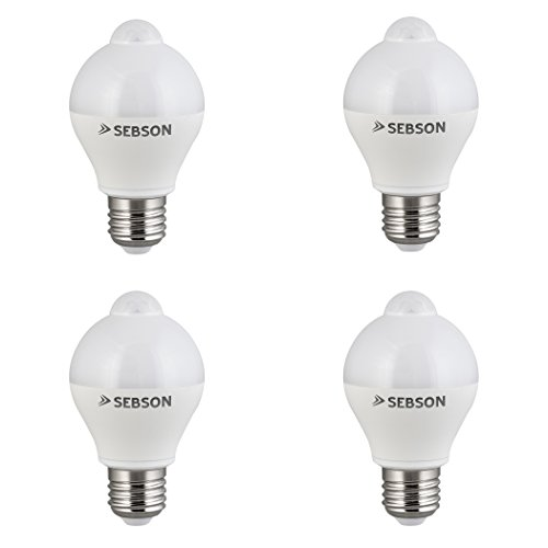 SEBSON® 4x LED Bombilla E27 Sensor, detector de movimiento, sensor crepuscular, 6W, 400lm, equivalente a 35W, Blanco Cálido: Amazon.es: Iluminación
