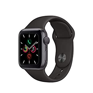 Apple Watch Series 5 (GPS, 44MM) – Space Gray Aluminum Case with Black Sport Band (Renewed)