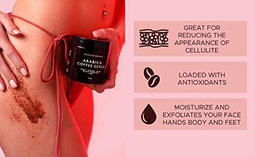 Brooklyn Botany Coffee Body Scrub - 100% Natural - Great for Face and Facial Scrub - Best Anti Cellulite & Stretch Mark Treatment, Spider Vein Therapy for Varicose Veins & Eczema- 10 oz 4