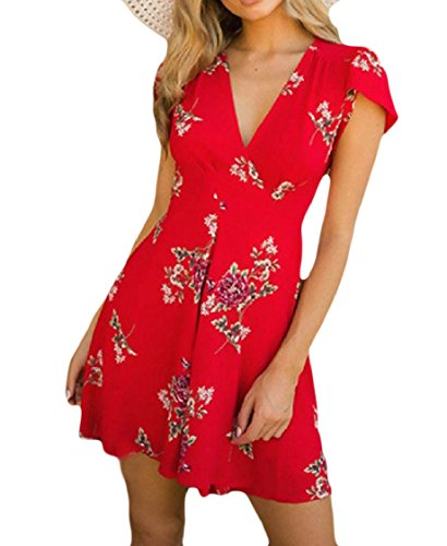 Drawstring Short Sleeves Women Red Dress Floral Mid Maxi Coolred Neck V and Tribal w0xt6dqYR