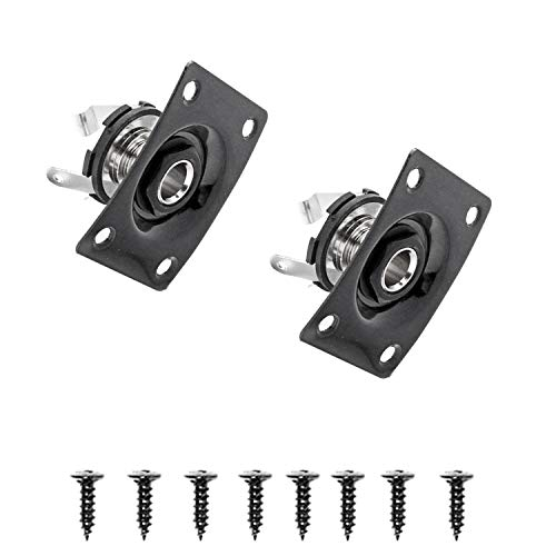 1/4''Square Jack Output Plate Socket for Electric Guitar(Pack of 2) (Black)