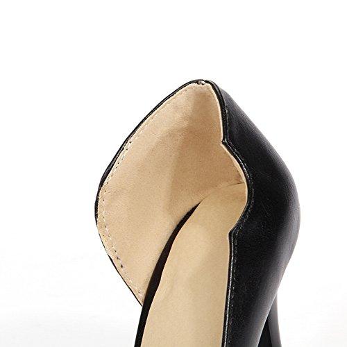 Allhqfashion Femme Pu Solide Pull-on Fermé Chaussures À Talons Hauts-chaussures Noires