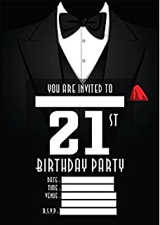 Birthday invitations male 21st birthday pack of 20 sheets amazon mens 21st birthday party invites invitations x 10 pack filmwisefo