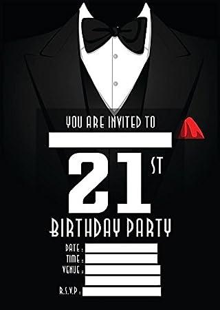 21st mens birthday party invites invitations x 10 pack envelopes