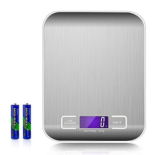 Food Scale Digital Kitchen Scale  10Kg  Back Lit Led Display With Anti Fingerprint Stainless Steel Platform  Silver  Batteries Inluded