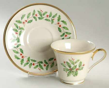 Lenox Holiday (Dimension) Footed Cup & Saucer Set, Fine China - Saucer Footed Cup