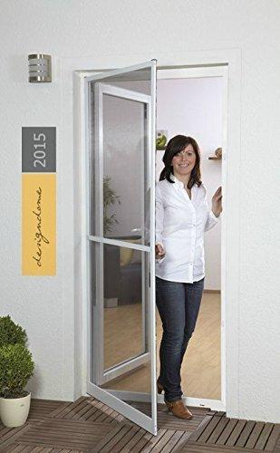 Insektenschutztür Fliegengitter Tür Insektenschutz SLIM Alurahmen 100 x 210 cm OHNE BOHREN ( Rahmenfarbe anthrazit)