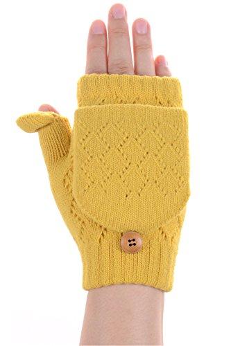 Over Gloves Fold Fleece (BYOS Women Winter Soft Warm Plush Fleece Lined Convertible Fingerless Knit Mittens Gloves Glittens w/Thumb Flaps (Yellow))