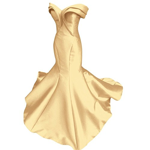 Mathena Women's Vintage Off Shoulder Cap Sleeve Mermaid Prom Gown Evening Dress US 16 Gold